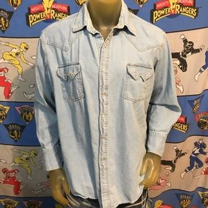 Vintage Denim Jean Plains Western Wear Pearl Snap